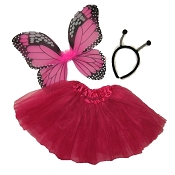 Butterfly Wing Skirt 3pc Set Hot Pink